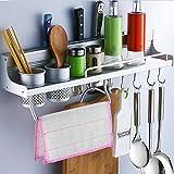 Enko Multifunktionale Aluminium Küche Rack Organizer Regale, Wand hängende Gewürz Rack, Flaschen Racks, verschiedene Hänger Haken & Topf Organizer für Küchenorganisation.
