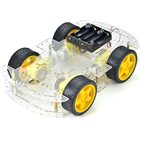Optimus Electric Smart Robot Car Two Chassis Kit with 4 DC Gear Motors, 4 Speed Encoder Disk Easy to Install and Multi-functional Package for Arduino Projects from