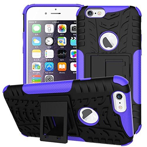 NEWSTARS Coque de protection en plastique double couche avec support Motif pneu Bonne prise Pour Apple iPhone 66S 11,9cm + 1protection d'écran en verre trempé + 1stylet Rose violet