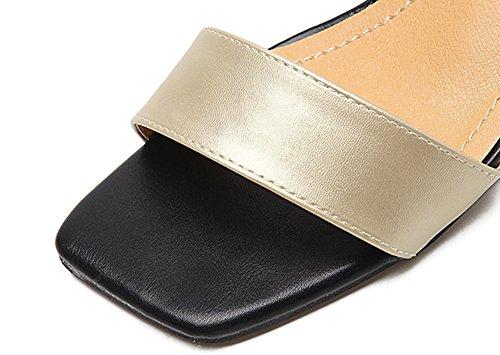 Aisun Damen Metallic Lederoptik Quadratische Zehe Knöchelriemchen Blockabsatz Sandalen Gold