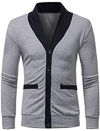 VENMO Männer Slim Fit Outwear Langer Hülsenmantel Patchwork Taschen Bluse  Tops Herren Sweatjacke mit Kapuze Jacke Hoodie Hoody… c15f985401