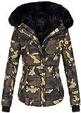 Marikoo warme Damen Winter Jacke Winterjacke Steppjacke gefüttert Kunstfell B618 [B618-Lotus-Camo-Gr.XS]