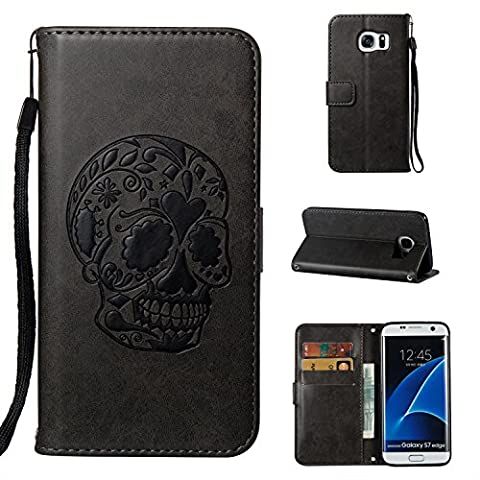 Ecoway Samsung Galaxy S7 edge Wallet Case, Durable Soft PU leather Wallet Case Cover Pouch Clasp With Hidden Cards Slots Retro Skull Embossed Leather Flip Protection Cover Case for Samsung Galaxy S7 edge Wallet - Navy blue