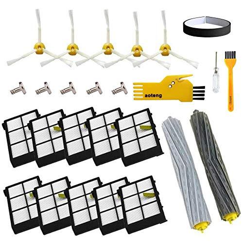 Accesorio para Irobot Roomba Rueda de rueda + Filtro HEPA + Reemplazo del kit de cepillo lateral para iRobot Roomba 800 860 870 880 980 Aspirador Accesorios Piezas