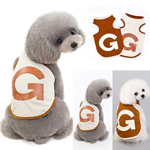 Kostüm Jacke Brief - Haustier Hund Katze Kleidung Tank Top Baumwolle Welpen T-Shirt G Brief T-Shirt Hundebekleidung Hund Jacke Kostüme (Color : Begie, Size : XL)
