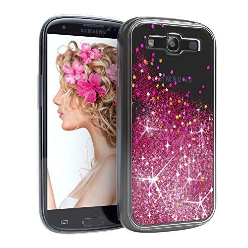 EAZY CASE Hülle für Samsung Galaxy S3 / S3 Neo Schutzhülle mit Flüssig-Glitzer, Handyhülle, Schutzhülle, Back Cover mit Glitter Flüssigkeit, aus TPU/Silikon, Transparent/Durchsichtig, Pink