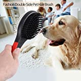Fellbürste Katzenbürste Hundebürste Zwei funktionale Bürstenseiten Haustierbürste mit Drahtstiften Borsten für Verfilzungen Knoten und Unterfell, Kurz bis Langhaar(L) - 6