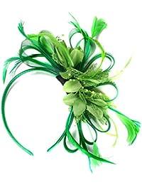 Tocado para boda, velo, con plumas, color verde