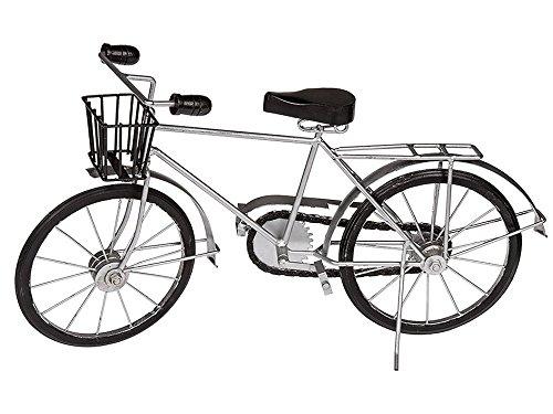 OOTB Deko-Holz/Metall-Fahrrad mit Korb, Silber/Schwarz, 48.5 x 13 x 26.2 cm