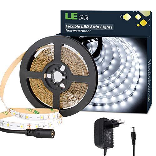 5m 12V Selbstklebend, Kaltweiß LED Strip mit 300 Stück 2835 LEDs, 8mm Breit, DIY Flexibel, 1200 Lumen LED Band inkl. Netzteil für Innen Feiertag Dekoration, usw. ()