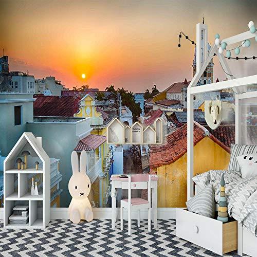 Foto Wallpape Sonnenuntergang in der Stadt 3D Vision Wandposter Für Schlafzimmer Wohnzimmer Küchen Wandkunst Dekoration Poster 300x210cm