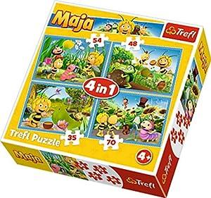 Trefl 34320 - Puzzle 4 en 1 Modelo Maya la Abeja 35-48-54-70 Piezas