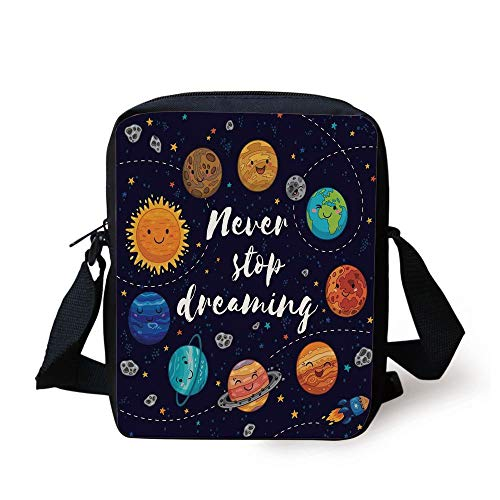 LULABE Quote,Outer Space Planets and Star Cluster Solar System Moon and Comets Sun Cosmos Illustration,Multi Print Kids Crossbody Messenger Bag Purse