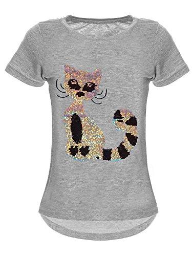 BEZLIT Mädchen Wende-Pailletten T-Shirt Katzen-Motiv Kurz-Arm 22590 Grau Größe 164 - Teenager Günstige T-shirts