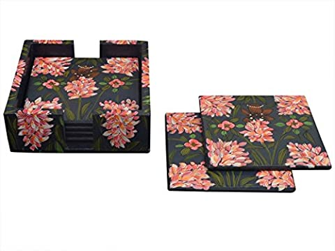 Store Indya Decorative Floral Print Design Wooden Coasters Set of 6 with Holder for Barware Home Kitchen Tabletop Accessory Decor Tea Coffee Mug Coasters