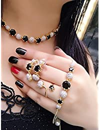 M Creation American Diamond Stylish Latest Design Black-Color Combo Of Necklace Set With Earring, Ring And Bracelet