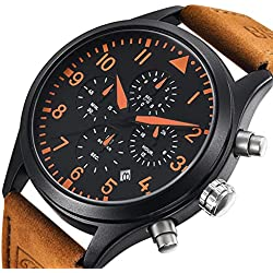Conbays Men's Military Sport Watches Outdoor Chronograph Stopwatch with Brown Leather Band Gift