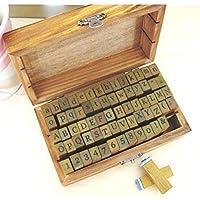 Alfabeto, números y símbolos de Madera con Sellos de Goma - 70 Piezas en Caja de la Vendimia by DURSHANI