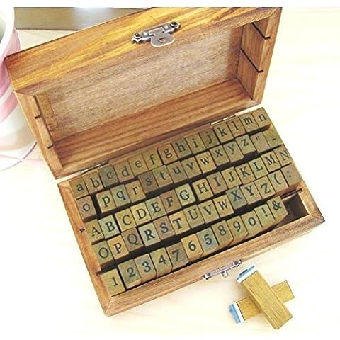 alfabeto, números y símbolos de madera con sellos de goma - 70 piezas en caja de la vendimia by