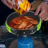 Camping Kochgeschirr | InnooTech Kochgeschirr-Set 11 tlg Kochausrüstung für Outdoor Wandern Picknick | Kompakte, leichte und robuste FDA GENEHMIGTE Topf & Pfanne aus Aluminium und Edelstahl | kostenlose faltbare Löffel & Gabel - 6