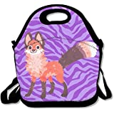 Watercolor Red Fox Handy Portable Zipper Lunch Box Lunch Tote Lunch Tote Bags