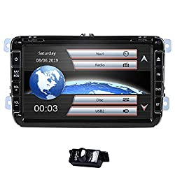 8 Zoll 2 Din Autoradio für VW Golf Skoda Seat mit Wince System DVD Player GPS Navigation FM AM Radio Bluetooth USB SD unterstützt Park Kamera Lenkrad Bedienung 1080P Video 8GB Kartenmaterial