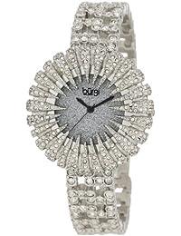 Burgi Mujer 15,5mm deslumbrante cristal cuarzo analógico inoxidable steel-plated Reloj, color negro y plata
