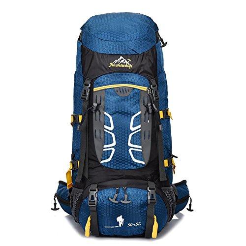 55L Zaino Uomo Donna professionale Zaini borse zaino di alta qualità borsa da viaggio zaino , orange Blue