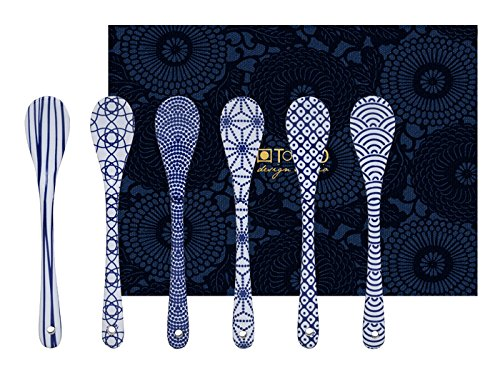 Tokyo Design Studio, 6 cuillère d'porcelaine, 13cm, Motif Nippon Blue