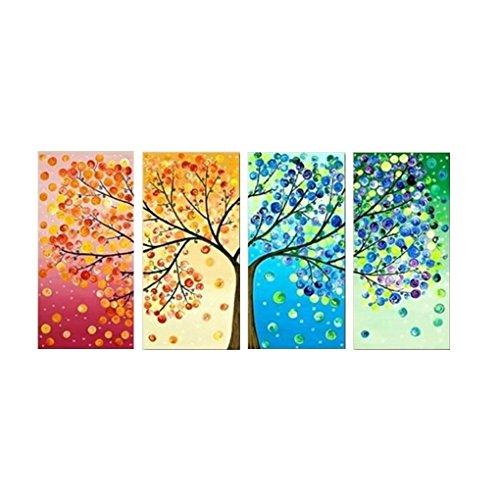 heacker Panel 4 Vier Jahreszeiten Blumen-Baum-Wand-Segeltuch Bunter Kunst-Dekor-Druck Ölgemälde nach Hause Wedding Wohnzimmer Unframed -