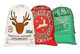 3 pcs Noël Sac de toile de sac de Père Noël pour les cadeaux Santa sac avec cordon Grande taille 70 x 50 cm motif 1 (Modèle 5)