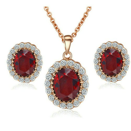 [Jewellery Set] Yoursfs Gorgeous 18ct Rose Gold Plated Oval Pendant Necklace & Stud Earrings Sets Red Austrian Crystal Jewellery