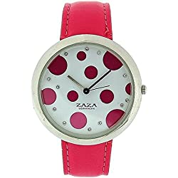 Zaza London Pink PU Strap Ladies & Pink Spotty Dial Fashion Watch LLB850
