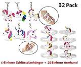 Einhorn Gastgeschenke Einhorn Schlüsselanhänger Armband Set Anhänger für Tasche und Schlüssel, Einhorn Geburtstagsfeier Gefälligkeiten für Kinder Mädchen, Emoticon Spielzeug (32 multi)