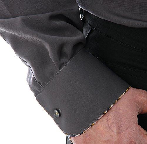 Besonderes Herren Hemd in Taubengrau, für Herren BESTE QUALITÄT, HK Mandel Freizeithemd Langarm Normal Nicht Tailliert, 3042 Taubengrau