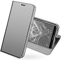 OJBKase Huawei P20 Lite Hülle, Premium Slim PU Leder Handy Schutzhülle [Kartensteckplatz] Tasche Lederhülle Handyhülle (Silber)