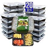 Meal Prep Containers [20 Stück] 3 Fächer Lebensmittel Aufbewahrung Bento Box | BPA-frei | (20-pack)