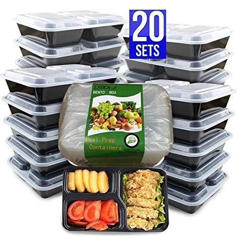 LSIKA-Z (Pacco da 20) Contenitori Alimentari con 3 Scomparti per la Preparazione dei Pasti, Meal Prep Containers, senza BPA, per Lavastoviglie, per il Congelatore, per il Microonde, Riutilizzabili