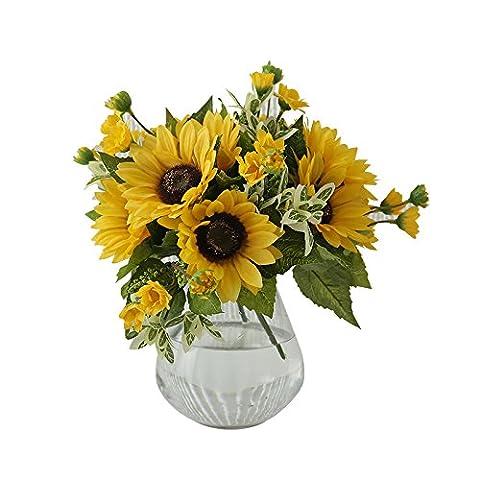 La bouche des petits vases design sisal bouteillesFleur d'émulation de tournesolSalon art floral frais