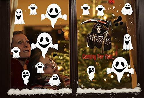 Tuopuda 4 hoja Halloween Pegatinas Pared Fantasma Pegatinas Ventanas Halloween Decoracion Terror (fantasma)