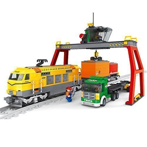 Cargo-Train-Set-Truck-Containers-Crane-City-Railway-Creator-12pcs-Tracks-25004