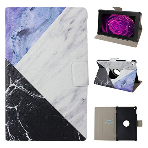 6 Lederhülle, Asnlove Ultra Slim Lightweight PU Ledertasche Schutzhülle Tasche Leather E-Reader Case mit Auto Sleep / Wake Tablet Smart Cover für Amazon Fire HD 8 E-book (6. Generation - 2016) Design Marmor en Weiß Blau mit Schwarzen (Kindle-color-bildschirm)