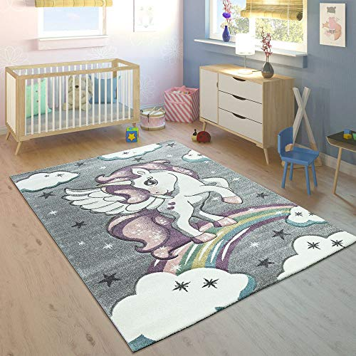Paco Home Alfombra Infantil Arco Iris Unicornio Color