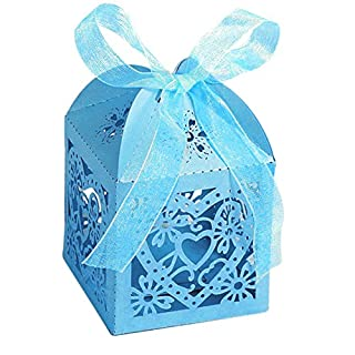 Little Snow Direct 20pcs Love Heart Luxury Boxes With Organza Ribbons Wedding Party Favour Laser Cut Sweets Cake Candy Gift Favor - Turquoise / Aqua