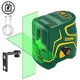 Nivel Láser Verde 30m TECCPO, USB Carga, Autonivelación y Función de Pulso, Soporte Magnético, 120° Horizontal y Vertical, 360° Giratorio, IP54, Bolsa Acolchada - TDLS09P