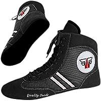 """FOX-FIGHT Zapatillas de sambo """"Quality Suede"""", zapatillas de lucha libre, de piel, Negro , 44"""