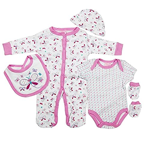 5 piece Layette Set Clothes Packs for Baby Boys Girls Infants Unisex Newborn Outfits Christening Christmas Birthday Gifts Sets Auntie Grandma 100% cotton 0 0-3 3-6 months White Purple
