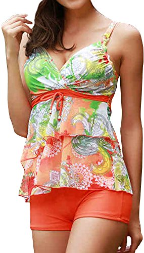 EmilyLe Women's Floral Print Tankini Sets Two Piece Swimsuit Swimwear With Shorts
