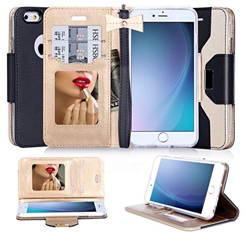 FYY iPhone 6S Schutzhülle, iPhone 6Fall, Premium PU Leder Wallet Case mit Kosmetik Spiegel und Schleife Strap für Apple iPhone 6S/iPhone 6(11,9cm), Kunstleder, schwarz/Gold, 6 / 6S (4.7 inch) (Mit Iphone Schleife 6 Fall)