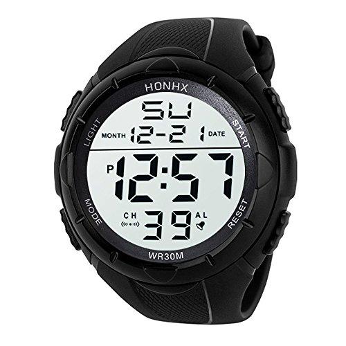 YEARNLY Herren Digitale Armbanduhr, Outdoor Laufen 5 Bar Wasserdichte militärische Uhren, Cool Sport große Anzeige LED Sportuhr mit Wecker für Herren
